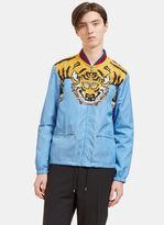 Gucci Men's Tiger Print Windbreaker Bomber Jacket In Blue