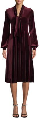 Black Halo Ruby Velvet Long-Sleeve Dress