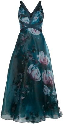 Marchesa v-neck floral print effect dress