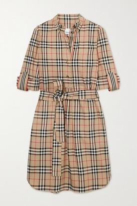 Burberry Net Sustain Belted Checked Cotton-blend Poplin Mini Dress - Beige