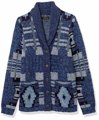 Lucky Brand Women's Button Up Patchwork Indigo Cardigan Sweater