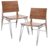 Lumisource Tetra Contemporary Dining Chair Stainless Steel/Walnut Wood (Set of 2)