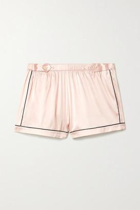 Morgan Lane Fiona Piped Silk-blend Charmeuse Pajama Shorts - Pastel pink