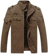 Pishon Men's Cotton Jacket Slim Fit Front Zip Stand Collar Windbreaker Jackets