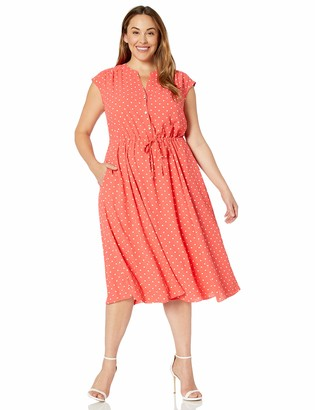 Anne Klein Women's Size Plus Printed CDC Drawstring MIDI Dress