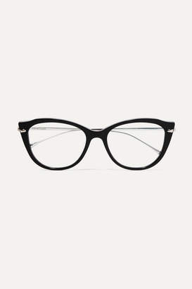 Cat Eye For Art's Sake - Kitty Cat-eye Acetate And Silver-tone Optical Glasses - Black
