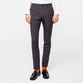 Paul Smith Men's Slim-Fit Navy And Burgundy Check Merino-Wool Trousers