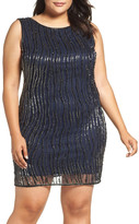 Pisarro Nights Embellished Bateau Neck Cocktail Dress (Plus Size)