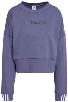 adidas Cropped Embroidered Cotton-blend Fleece Sweatshirt