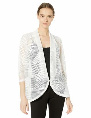 Kasper Women's 3/4 Sleeve Open Front MESH Knit Cardigan