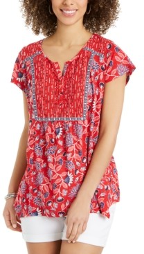 Style&Co. Style & Co Printed Handkerchief-Hem Top, Created for Macy's