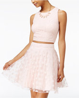 City Studios Juniors' 2-Pc. Lace Dot Fit & Flare Dress