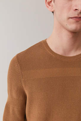 Cos COTTON SWEATER WITH BANDED RIB DETAIL