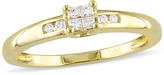 Julie Leah 1/8 CT TW Diamond Yellow-Plated Sterling Silver Princess Cut Promise Ring