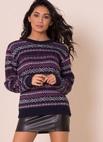 Missy Empire Mary Jo Navy And Pink Print Knitted Jumper
