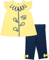 Cutie Pie Baby Yellow & Navy Flower Top & Polka Dot Pants