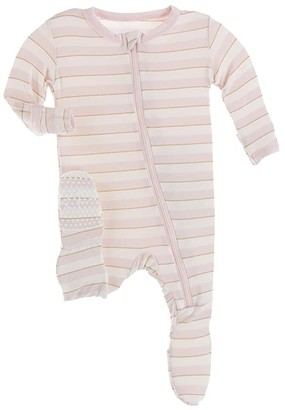 Kickee Pants Kids Print Footie with Zipper (Infant) (Everyday Heroes Sweet Stripe) Girl's Jumpsuit & Rompers One Piece