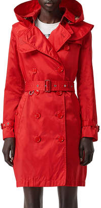 Burberry Kensington Nylon Hooded Trench Coat