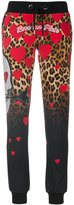 Philipp Plein heart and leopard print track pants