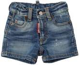 DSQUARED2 Washed Stretch Cotton Denim Shorts