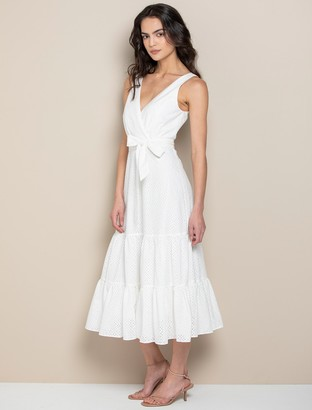 Forever New Bianca Broderie Tiered Dress - Porcelain - 10