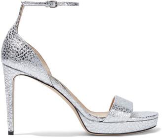 Sergio Rossi Gydda Metallic Snake-effect Leather Platform Sandals