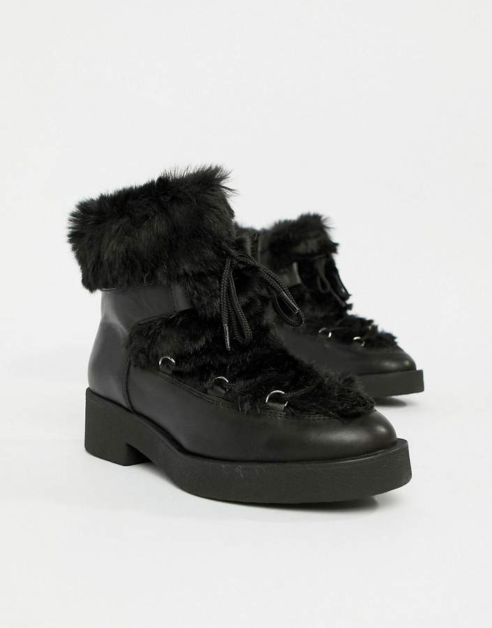 a31943a375fad Lace Up Faux Fur Ankle Boots - ShopStyle UK