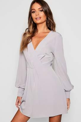 boohoo Wrap Blouson Skater Dress