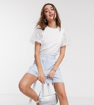 Asos DESIGN Petite t-shirt with organza sleeve
