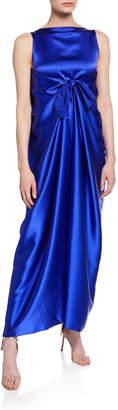 Bernadette Judy Sleeveless Silk Knot-Front Maxi Dress