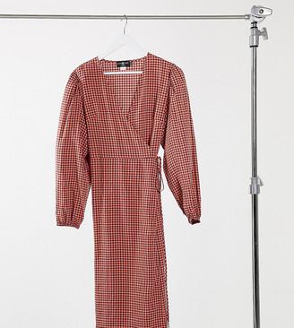 Daisy Street Plus midaxi wrap dress in vintage check