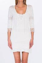 Olivaceous Crochet Lace Up Dress