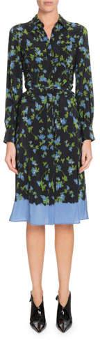 Altuzarra Long-Sleeve Button-Front Floral-Print Silk Dress