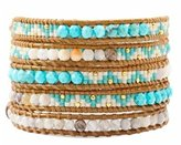 Chan Luu Gold Turquoise & African Opal Multi Wrap Bracelet on Leather