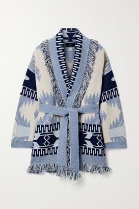 Alanui Belted Fringed Cashmere Jacquard-knit Cardigan - Navy