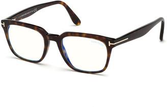 Tom Ford Men's Blue-Block Square Tortoiseshell Acetate Optical Frames