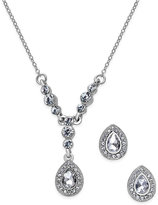 Charter Club Silver-Tone Clear Stone Teardrop Pendant Necklace and Stud Earrings Set, Only at Macy's