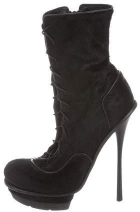 Alexander McQueen Ponyhair Platform Ankle Boots