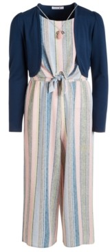 Beautees Big Girls 2-Pc. Shrug & Striped Necklace Jumpsuit Set