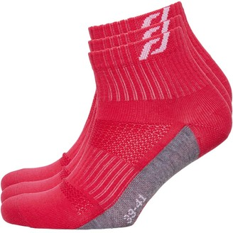 Pro Touch Unisex Lightweight Ankle Length 3 Pack Running Socks Red/Grey