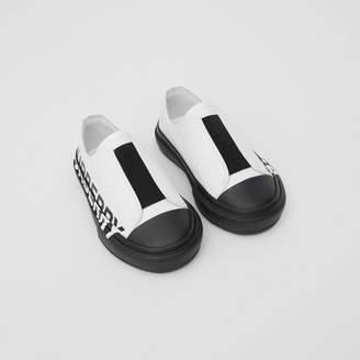 Burberry Childrens Logo Print Two-tone Cotton Gabardine Slip-on Sneakers