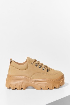 Nasty Gal Womens Get Down With Me Faux Leather Wide Fit Sneakers - Sand