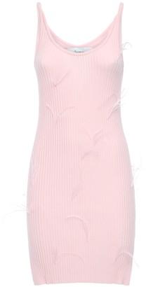 Marques Almeida Viscose Blend Knit Dress W/ Feather