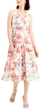 Thumbnail for your product : Taylor Petite Floral-Print Sleeveless Cotton Dress
