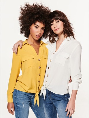 M&Co Tie front utility shirt