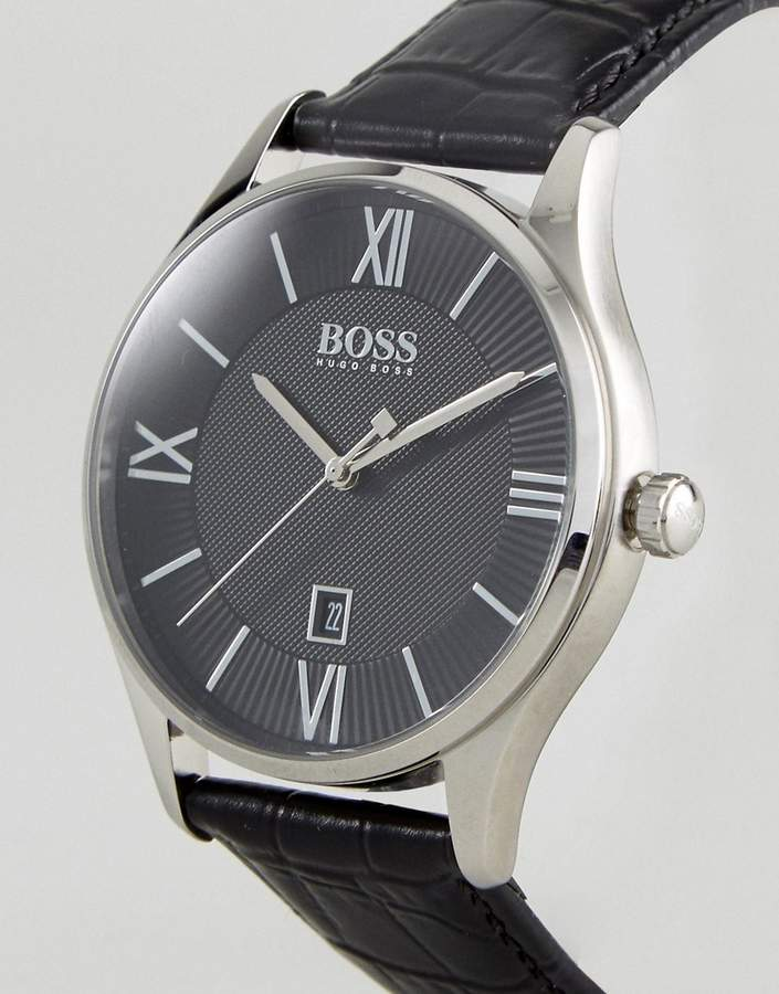 HUGO BOSS Boss By 1513485 Governor Leather Watch In Black