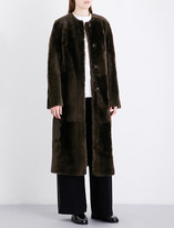 Drome Collarless reversible shearling and suede coat