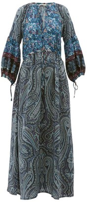 D'Ascoli Leela Floral-print Silk Maxi Dress - Womens - Blue Print