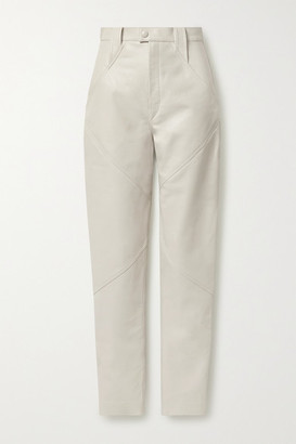 Isabel Marant Xenia Leather Tapered Pants - Ecru