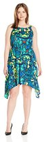 NY Collection Women's Plus-Size Printed Cleo-Neck Dress with Shark-Bite Hem